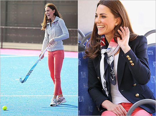 The multi-talented dutchess, Kate proves she can pull off a day-to-workout look in coral-colored jeans
