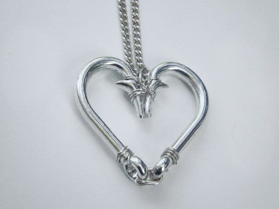 Unique Wire-wrapped Fish Hook Necklace Heart