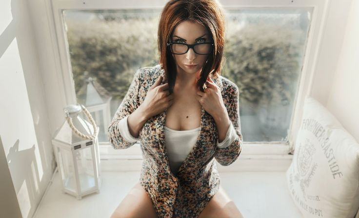 Women, Portrait, Sitting, Glasses, Sexy