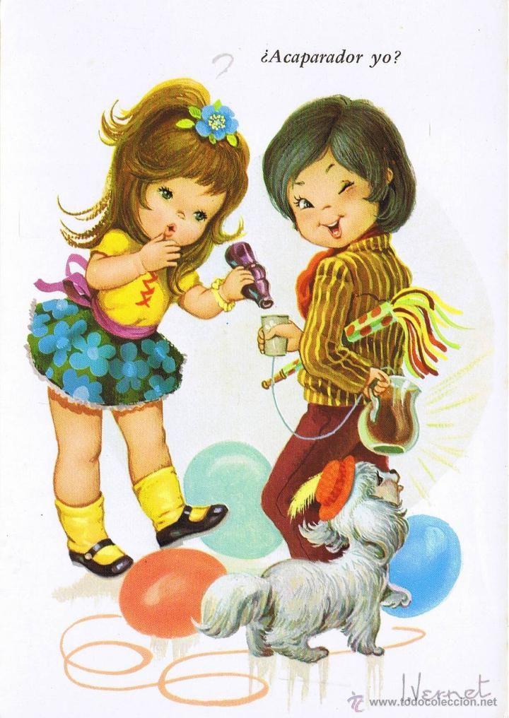 Postal nin os y perro fiesta de cumplea os ilust vernet - Ilustraciones infantiles antiguas ...