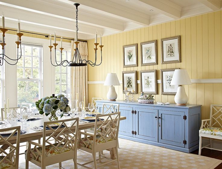 Beach Style Dining Room In Yellow With A Pop Of Blue Design Tom Stringer
