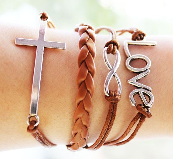Handmade Leather Friendship Bracelet Charm by BesideTheCloud