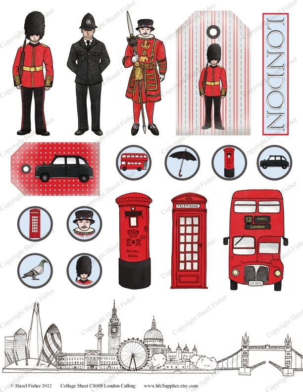 Clipart sur Londres à imprimer pour illustrer un carnet de voyage, un lapbook...