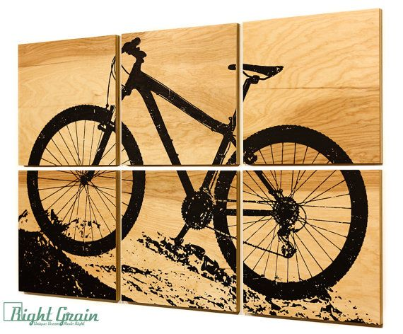 DESIGN: Mountain Bike Art  SHOWN IN: Natural Birch *background* and Black *print*  SIZE: Each panel is 12x12 // total dimensions 24x36  PANEL TYPE: