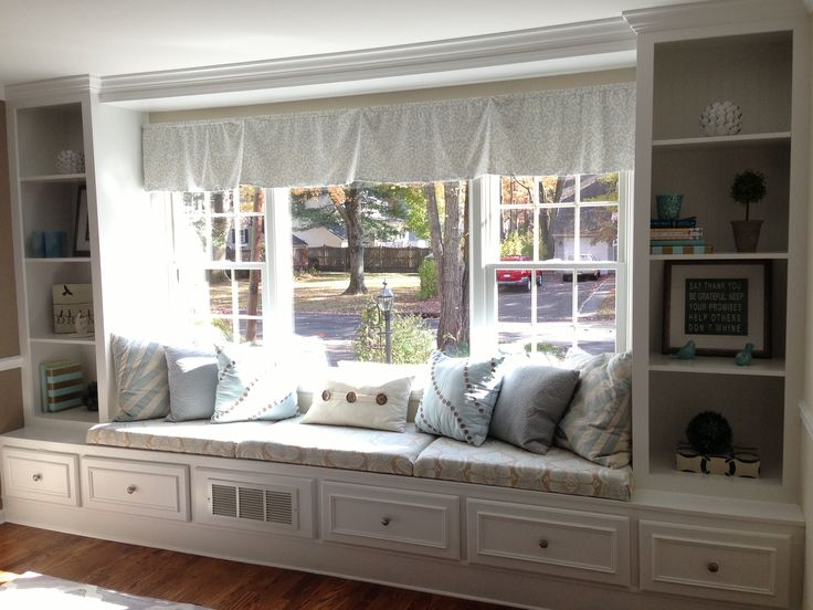 Built-in window seat, shelves & drawers