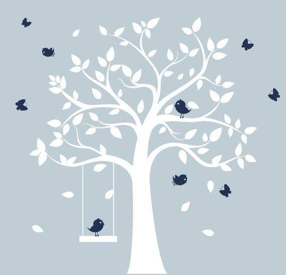 Nursery tree decal - white tree with birds & butterflies- nursery wall art. via Etsy. no swing. no birds. probably no butterflies...