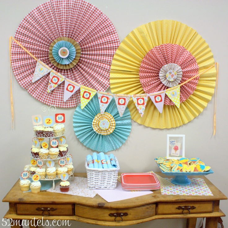 52 Mantels: Ice Cream Birthday Party!  @Anna Ganske ...this is what we do with that pretty wrapping paper!  To hang behind your desk!