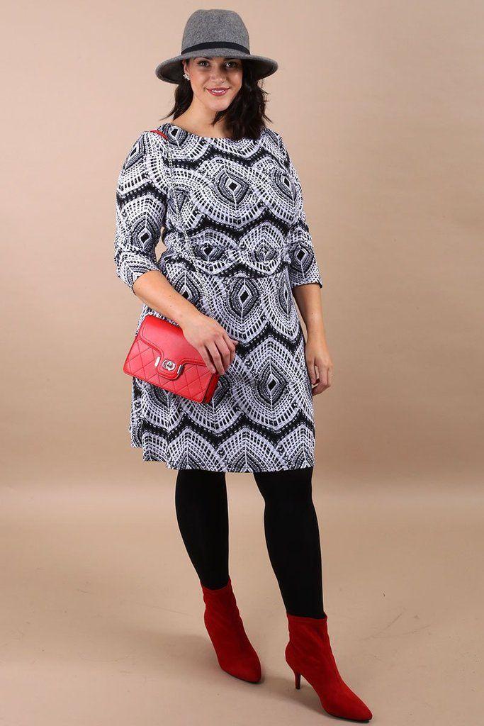 c626380b681 Curve Finola Grey Geo Print Tea Dress | New Arrivals | Virgo Boutique |  Boutique, Boutique stores, Geo