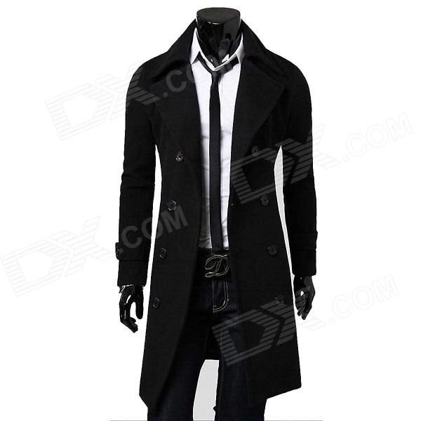 Fashionable Double-Breasted Trench Men's Coat - Black #FashionMen'sCoat