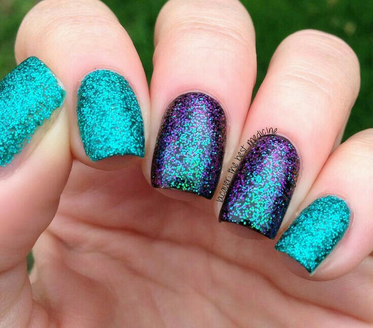 Purple and teal | Teal nails, Purple glitter nails ...