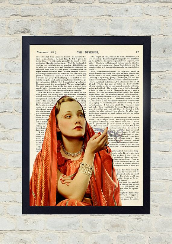 Vintage Dictionary Art Print. Smoking I'm waiting. Original Artwork. Old paper print. Vintage Illustration poster. Home wall Decor. Collage.