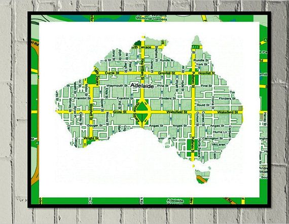 Adelaide map print digital download Aussie green and gold - Made by Gia $4.50