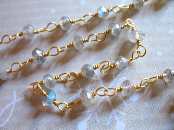 Shop Sale..  LABRADORITE Rosary Chain, 5 feet, Wire Wrapped Beaded Chain, Gold or Silver Plated, Wholesale Gemstone Chain rc.2 by FabulousRocks on Etsy https://www.etsy.com/listing/192683345/shop-sale-labradorite-rosary-chain-5