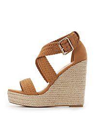 BrownBraided Espadrille Wedge Sandals