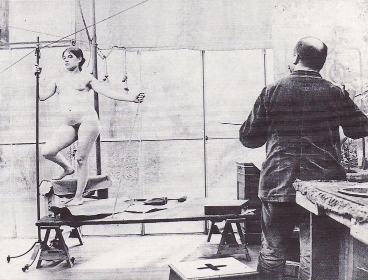 Vojtech Hynais with model Suzanne Valadon, 1890.