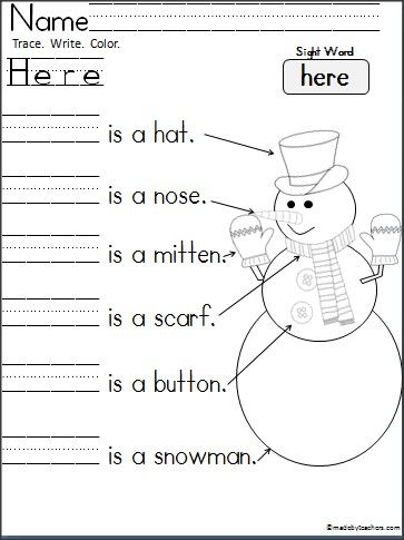"Free Kindergarten Snowman Writing to practice reading and writing the word ""Here""."