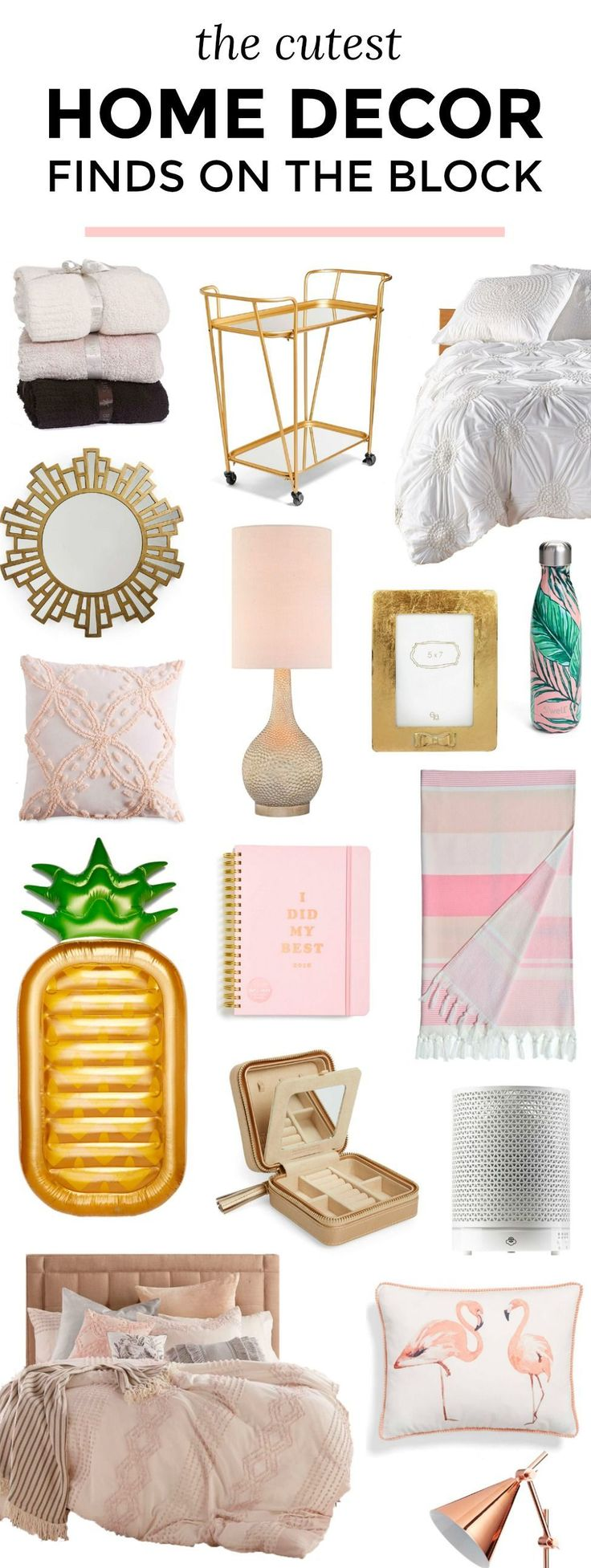The cutest and most affordable home decor finds that you will LOVE. P.S. All of these feminine home decor items are currently on sale in the Nordstrom Anniversary Sale for crazy low prices. To see the best home decor deals from the Nordstrom Anniversary Sale, click through this pin from Orlando, Florida lifestyle blogger Ashley Brooke Nicholas! | cute home decor, home decor ideas, pink gold and white home decor, cute bedding, gold bar cart, pink and green palm trees, flamingos, gold mirrors