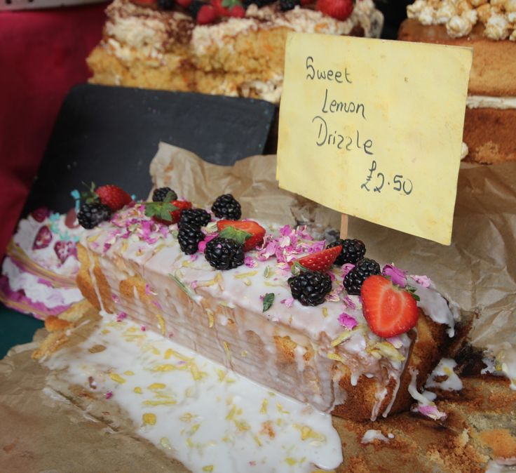 One of the many delicious cakes, from our global food kitchen in West Yard! We have the best selection around.