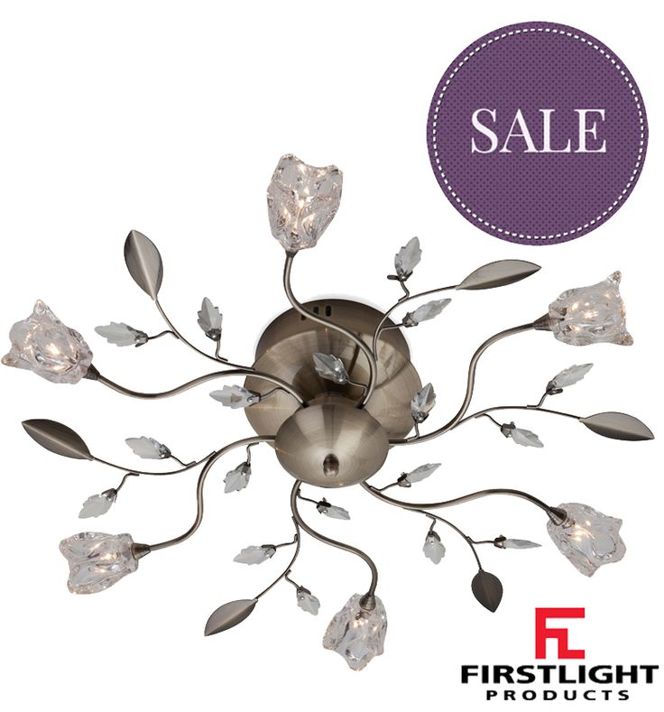 FIRSTLIGHT 'CINDY' 6 LIGHT FLUSH CEILING LIGHT, ANTIQUE BRASS WITH CLEAR GLASS - 8361AB None