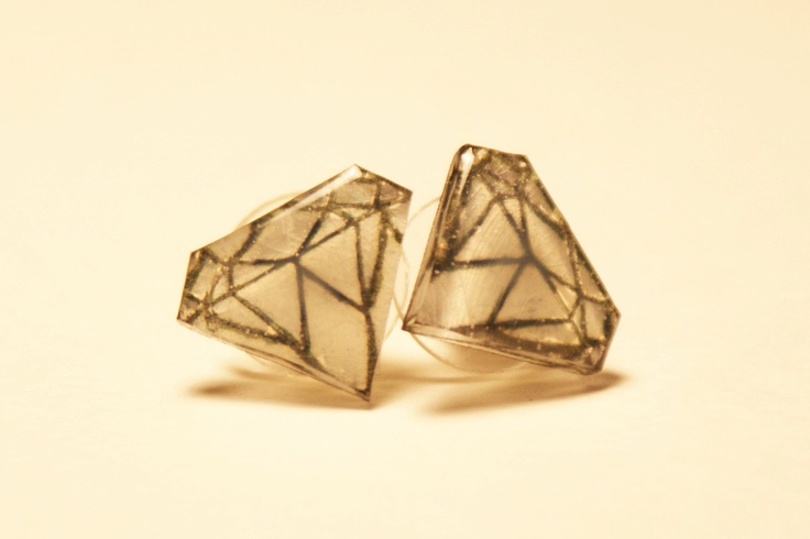 Diamond Pair of Stud Earrings. $10.00, via Etsy.