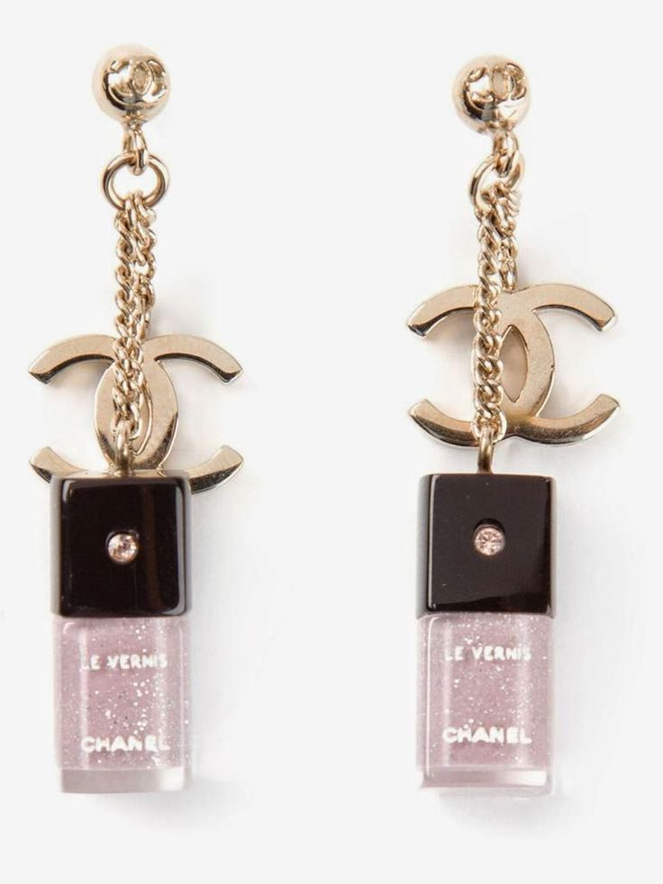 Cute Chanel nail varnish drop earrings