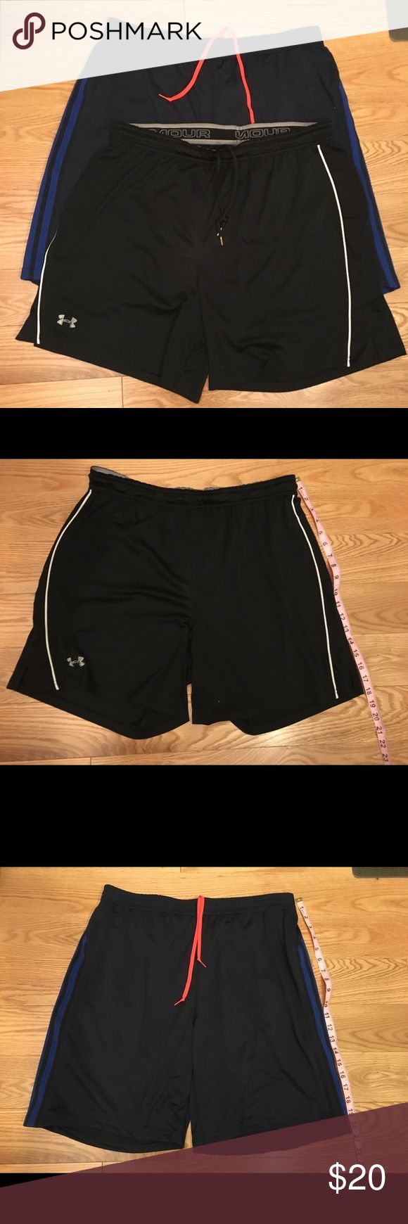 Men's workout shorts UA/Adidas bundle.  Size L. 2 pairs Men's work out shorts. Under Armour dri-fit material without an interior lining - Black w/ white.              Adidas ClimaCool technology, with interior lining - Navy w/orange.   The Under Armour logo is slightly faded as pictured above.  Otherwise excellent condition. Both size L adidas Shorts Athletic
