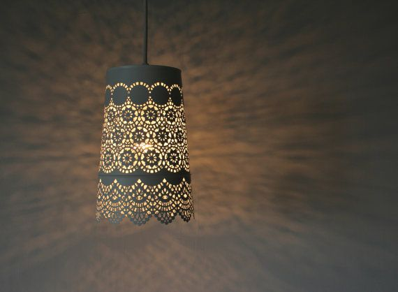 Queen Anne's Lace - UpCycled Hanging Pendant Lamp - White Mesh Lace Metal Garden Planter Lighting Fixture - BootsNGus Lamp Design