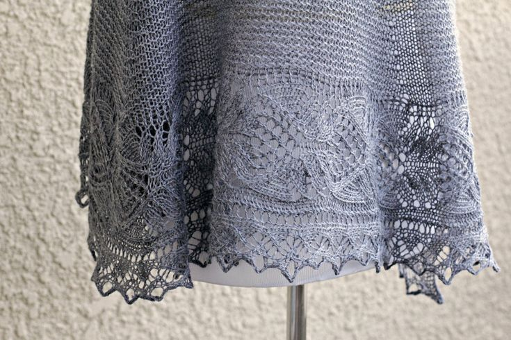 This hand knit #shawl is made of 100% wool in lovely grey color. The shawl is half-circle shape and perfectly wide to wrap around the body. Laced edge adds feminine look to ... #kgthreads #accessories #elegant #fashion #gift #handknit #handknitted #knitting #lace #stole
