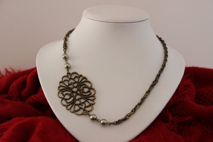 Bronze Garden Collection; Classy filigree bronze bouquet necklace - unique and dignified by 4Dignity on Etsy