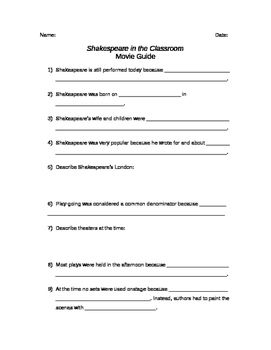 Based on the video Shakespeare in the Classroom, a companion to Shakespeare in Love, this movie guide ensures students pay attention. Includes quiz.