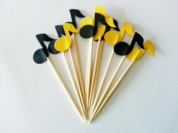12 MUSIC NOTE Party Picks / Cupcake Toppers / Cocktail Sticks