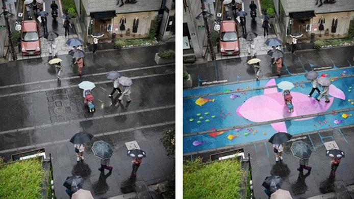 Baal je van de regen? In Seoul heeft de nattigheid een fijne bijkomstigheid: er wordt allerlei fleurige regenkunst op straat zichtbaar!
