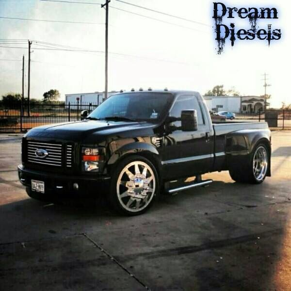 Black F250 That Is A Bad Boy Monster Rims On A Dually