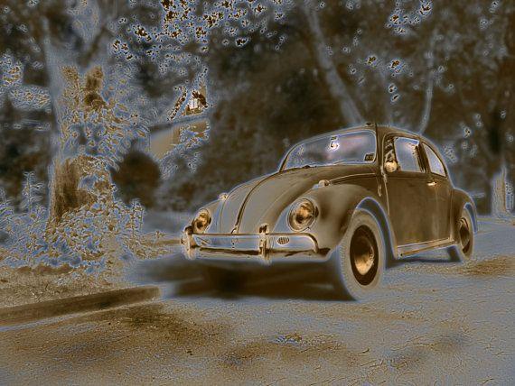 VW Bug Photo HDR photo 60s Volkswagen truck art  vintage Bug. ©LeeAnn Gauthier