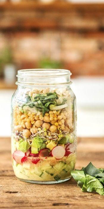 Ganz in grün: Unsere liebsten Salatsorten.   Aromatischer Mangold Ihr braucht: Dressing Gurke, gewürfelt Radieschen, in Scheiben Avocado, gewürfelt Rettichsprossen Kichererbsen Rose Linsen Mangoldblätter, zerkleinert Cashewkerne, zerkleinert   Frisch / Salat / Gesund / Neujahr / Mealprep / Glas / Lunch / Mittagspause   #hellofreshde #gesund #diy #rezept #kochen #salat