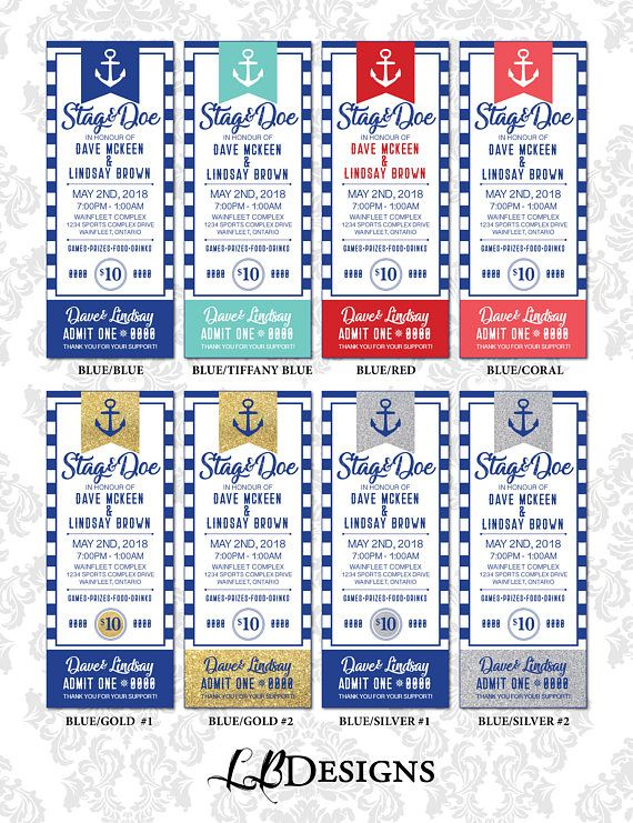 Stag and Doe  Nautical Theme Ticket