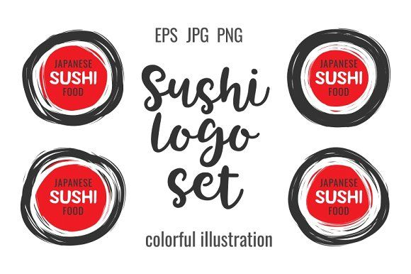 Hand drawn scribble sushi logo by primula on @creativemarket