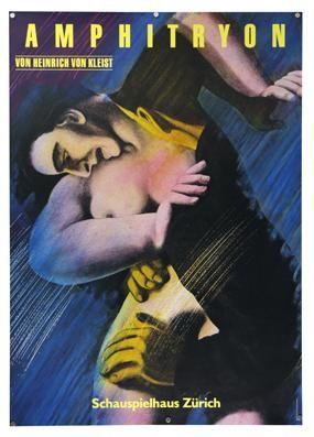 Plakat - Amphitryon - Schauspielhaus Zürich. Siebdruck. Erscheinungsdatum: 1987