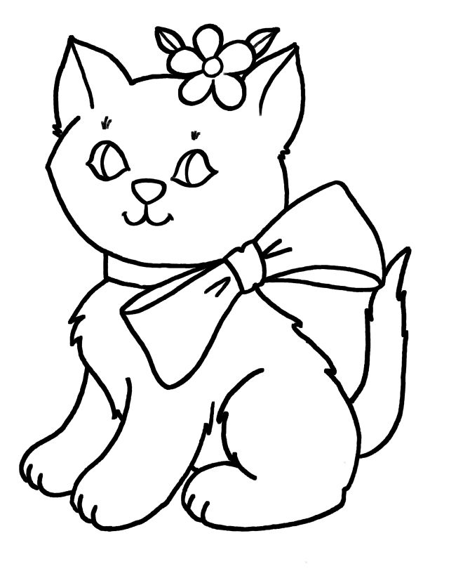 cat color pages printable objects early learners have fun coloring these - Free Simple Coloring Pages