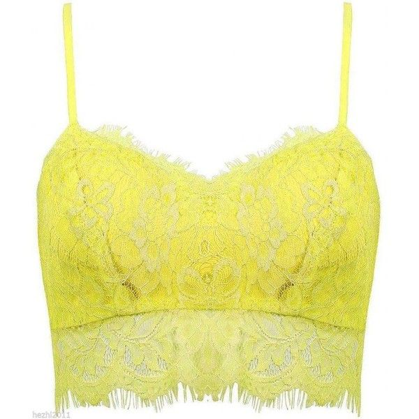 PaperMoon Women's Lace Camisole Crop Top (€3,98) ❤ liked on Polyvore featuring tops, camisole crop top, cropped camisole, lacy tops, lace cami top and yellow cami top