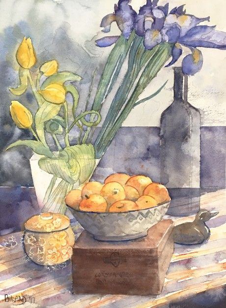 Check out Tulips and Irises on Stripes by BeccaWard  | Original Art | https://www.vangoart.co/beccaward/tulips-and-irises-on-stripes @VangoArt