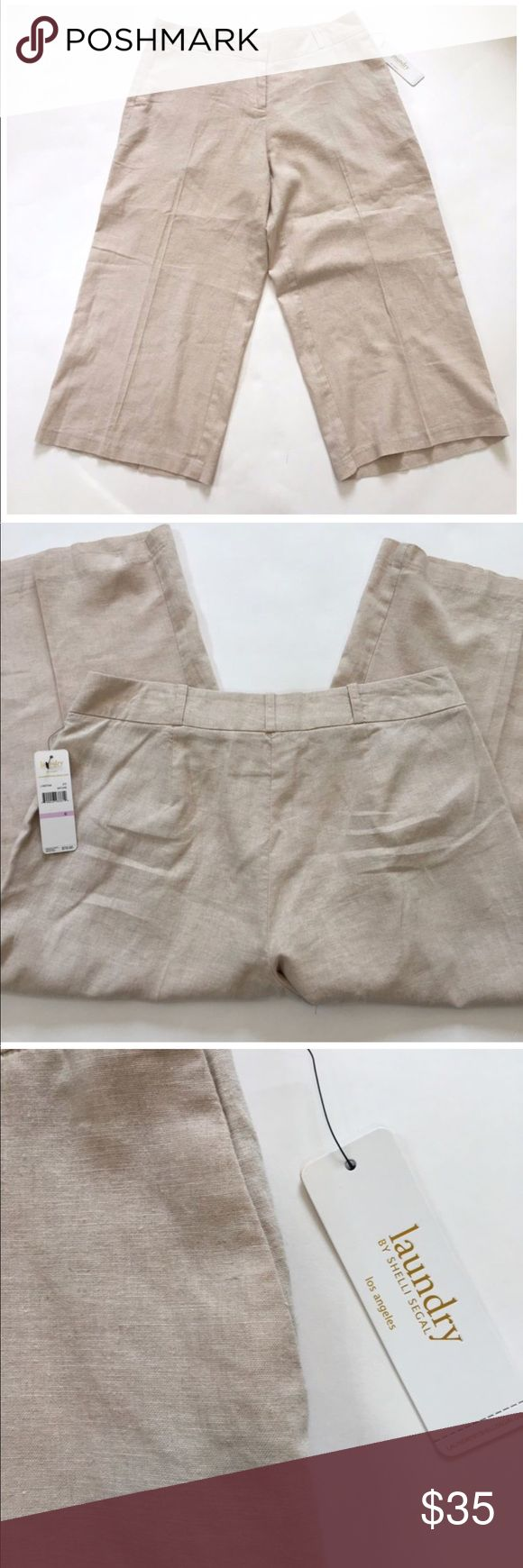 •Laundry Shelli Segal• Cropped Wide Linen Pants NEW WITH TAGS NEVER WORN! Please feel free to ask any questions or make an offer! All prices are negotiable! Laundry By Shelli Segal Pants Wide Leg