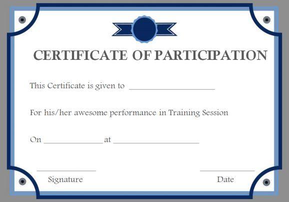 Training Participation Certificate Templates Certificate Templates Certificate Of Participation Template Participation