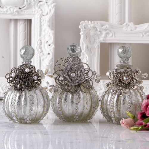 Vintage antiqued silver Perfume Bottles with beaded flowers & jeweled accents!