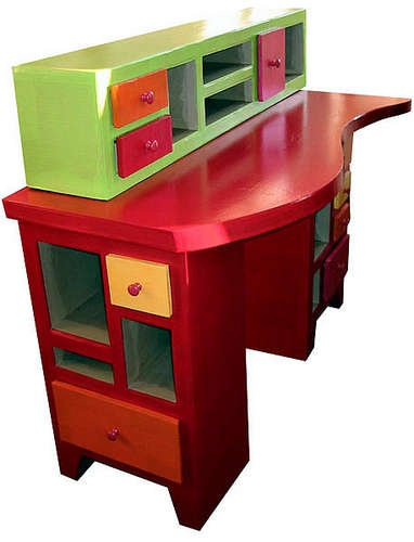 Painted  Cardboard Desk <3 Note to self: When you re-paint the sewing cabinet, this might be fun.