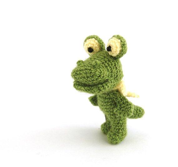 $31.67 stuffed small crocodile, little crocheted crocodile, amigurumi #alligator, miniature #raptor animal, gift for #kids, handmade by crochAndi