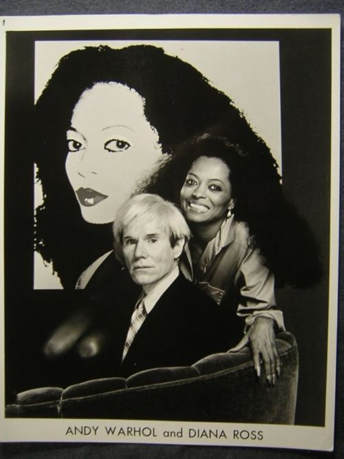 Diana Ross and Andy Warhol sitting in front of a portrait designed by Andy for Diana's 1982 Silk Electric album.  Diana Ross and Andy Warho... #Andy Warhol #celebrity