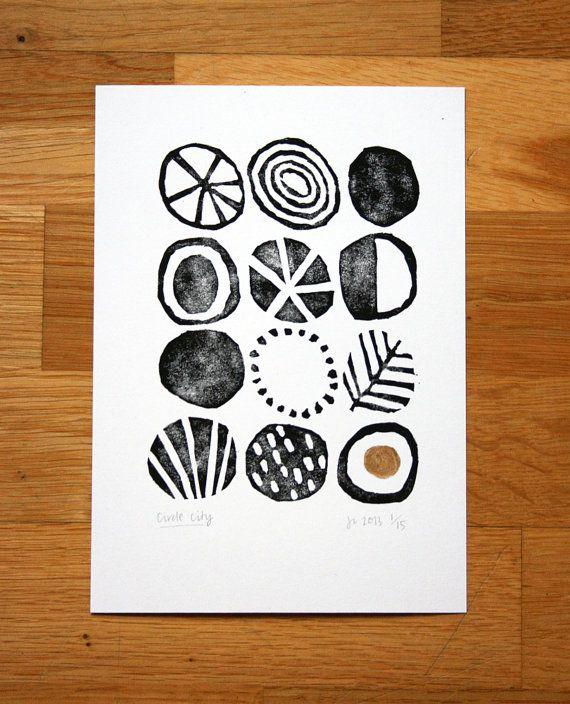Circle City - hand coloured lino-print