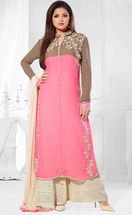 USD 60.27 Pink Georgette Palazzo Style Suit 47263