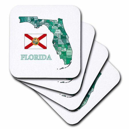 3dRose Colorful map and flag of Florida with all counties identified , Soft Coasters, set of 8
